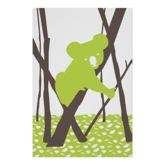 Koala Bear on Bamboo Poster