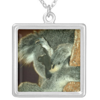 Koala Bear, Sleeping with paw over face Silver Plated Necklace