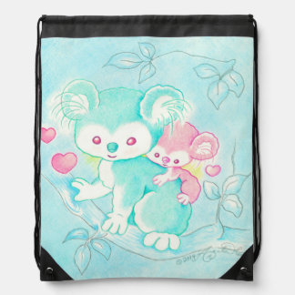 Koala Bear With Baby Drawstring Bags
