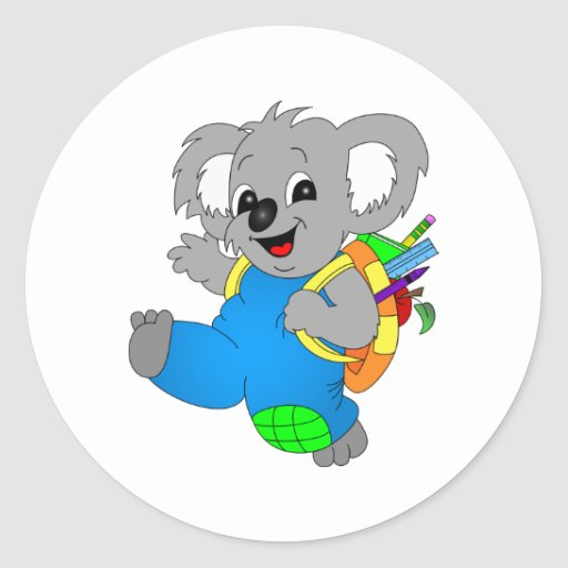 Koala Bear with backpack Classic Round Sticker