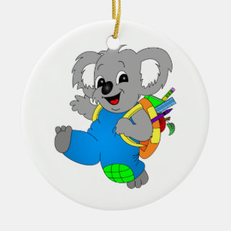 Koala Bear with backpack Double-Sided Ceramic Round Christmas Ornament
