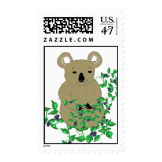 Koala Bear With Vines and Berries Postage