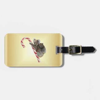 Koala Christmas Candy Cane Tag For Bags