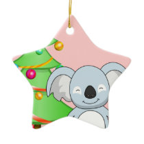 Koala Christmas Ceramic Ornament