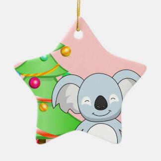 Koala Christmas Double-Sided Star Ceramic Christmas Ornament