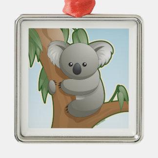 Koala de Kawaii Adorno Navideño Cuadrado De Metal