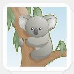 Koala de Kawaii Calcomania Cuadrada Personalizada