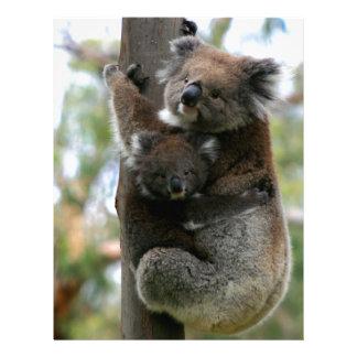 Koala de la mamá y del bebé membrete a diseño