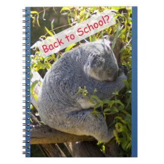 Koala de nuevo a escuela libro de apuntes