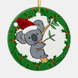 Koala de Santa - Dinkum justo Adorno Navideño Redondo De Cerámica