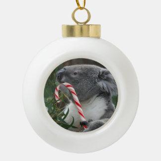 Koala del bastón de caramelo del navidad adorno de cerámica en forma de bola