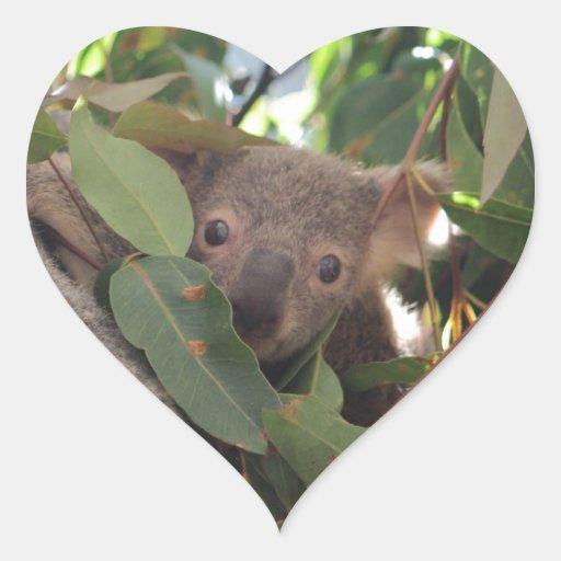 Koala del bebé pegatinas corazon