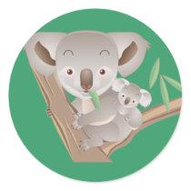 Koala Family Classic Round Sticker