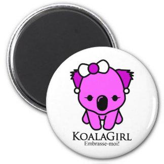 Koala Girl 2 Inch Round Magnet