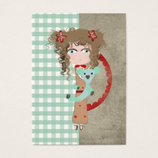 Koala girl gingham old new fashion business card