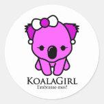 Koala Girl Pegatina Redonda