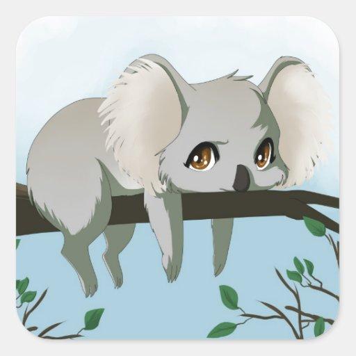 Koala gruñona pegatinas cuadradases personalizadas