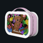 """Koala Habitat Lunchbox<br><div class=""""desc"""">Graphic illustration of koalas in their habitat surrounded by colorful flowers and leaves.   Customize the with your name.   Yubo lunch boxes are 100% dishwasher safe and have a unique design.  Wildlife art is great for kids of all ages.</div>"""
