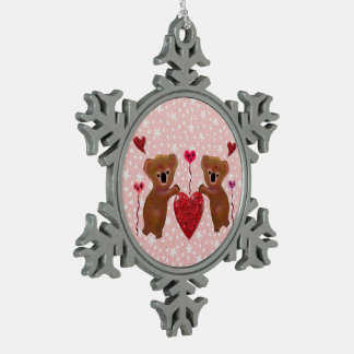 Koala Hearts Snowflake Ornament