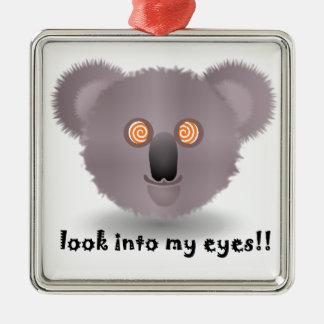 koala hipnótica adorno navideño cuadrado de metal