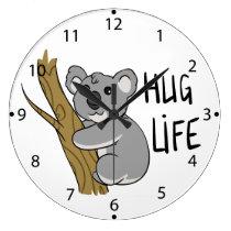 koala - hug life large clock