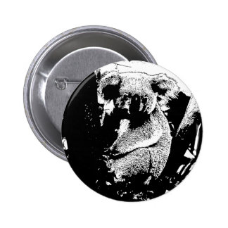Koala in Black and White 2 Inch Round Button