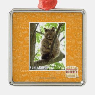 Koala Kitteh Square Metal Christmas Ornament