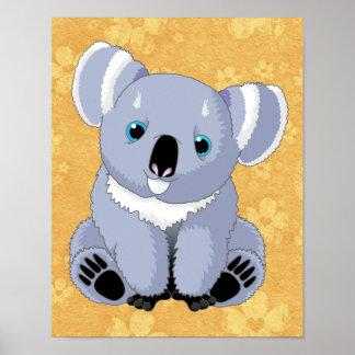 Koala linda con el fondo floral posters