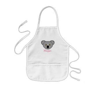 Koala linda del dibujo animado personalizada con delantal infantil