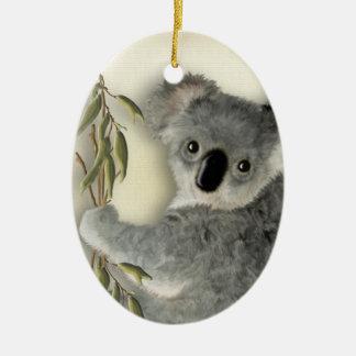 Koala linda personalizada adorno navideño ovalado de cerámica