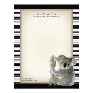 Koala linda plantilla de membrete