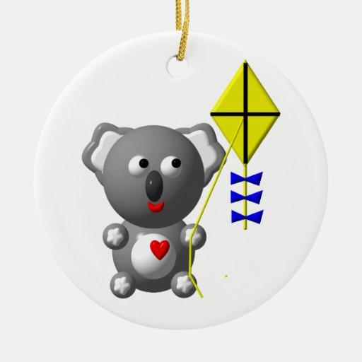 Koala linda que vuela una cometa ornamento para arbol de navidad