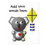 Koala linda que vuela una cometa tarjetas postales