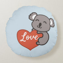 Koala love round pillow
