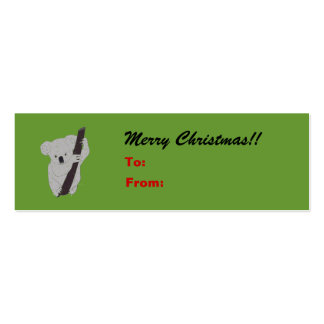 Koala Merry Christmas Holiday Gift Tag Double-Sided Mini Business Cards (Pack Of 20)