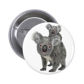 Koala Mother and Child Pinback Button