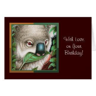 Koala Munching a Leaf Birthday Card
