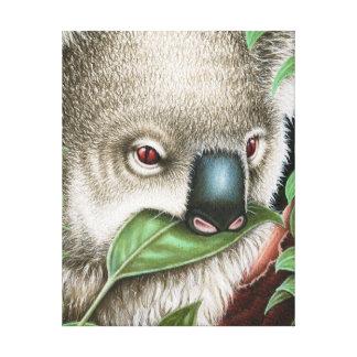 Koala Munching a Leaf Wrapped Canvas
