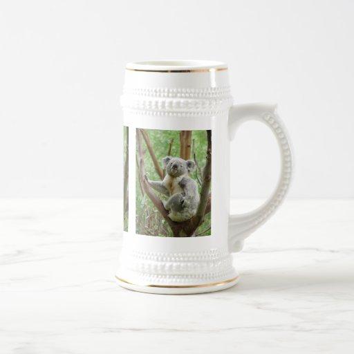 Koala on a tree beer stein