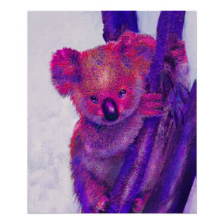 koala púrpura y rosada posters