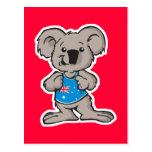 koala que lleva la camisa de Australia Tarjetas Postales