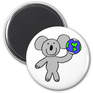 Koala que viaja imán redondo 5 cm