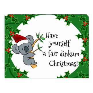 Koala Santa - Dinkum justo Christma Postales