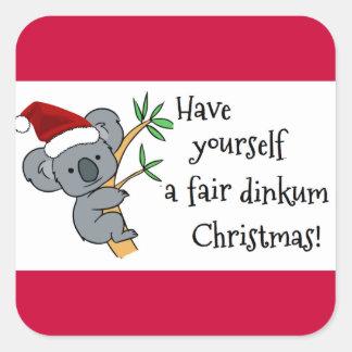 Koala Santa - navidad australiano Calcomanías Cuadradass
