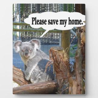 Koala Save My Home Display Plaque