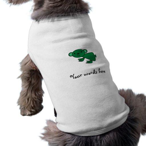 Koala verde oscuro playera sin mangas para perro