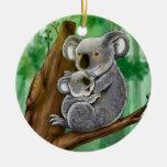 Koala y bebé lindos ornamentos de reyes