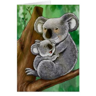 Koala y bebé lindos tarjeta de felicitación