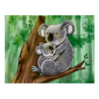 Koala y bebé lindos tarjeta postal