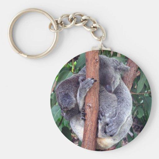 Koala y bebé llavero redondo tipo pin